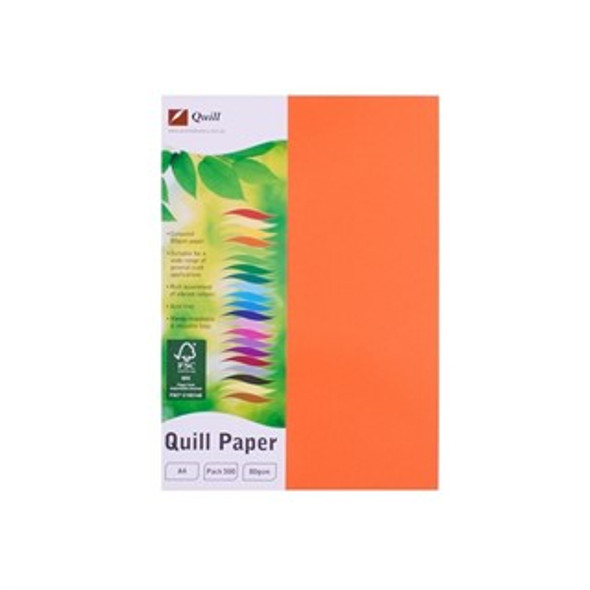 Quill Paper 80GSM A4 Pack 500 - Orange