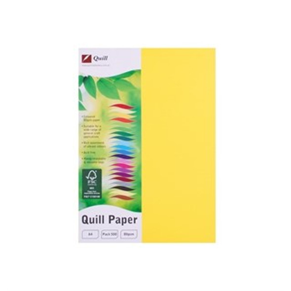 Quill Paper 80GSM A4 Pack 500 - Lemon