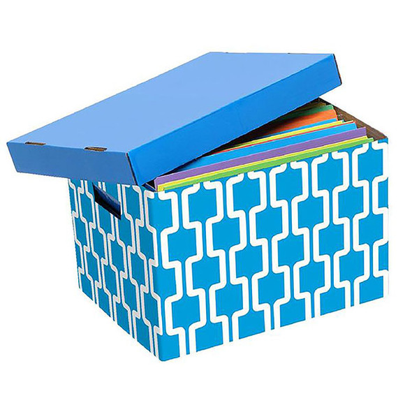 Marbig Archive Box Blue/White Pattern