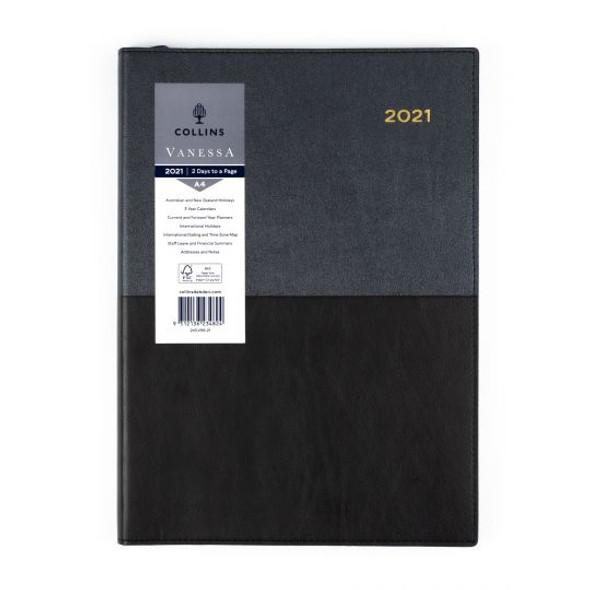 Collins Vanessa Diary 2021 A4 Two Days Page Black