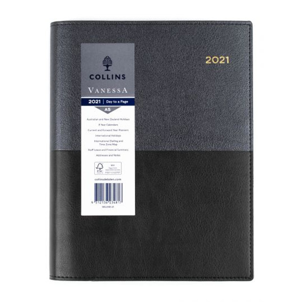 Collins Vanessa Diary 2021 A5 Day To Page Black
