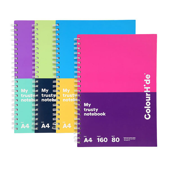 Colourhide 1809099F My Trusty Hardcover A4 160 Page Assorted Pack 5