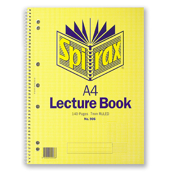 Spirax 906 Lecture Book A4 140 Pages Side Opening