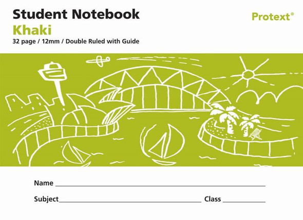 Protext Student Note Book Khaki 32 page Double Ruled 12mm/ Guide