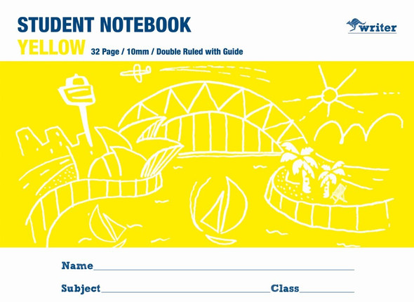 Writer Student Note Book Yellow 32 page Double Ruled 10mm/Guide