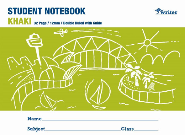 Writer  Student Note Book Khaki 32 page Double Ruled 12mm/Guide