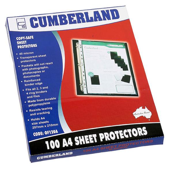 Cumberland Sheet Protectors 40 Micron A4 Clear Box 100