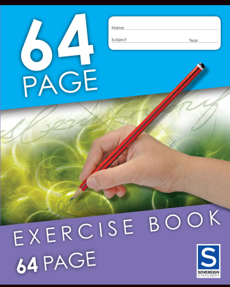 Exercise Book Sovereign 225x175mm 8mm Ruled 64pg