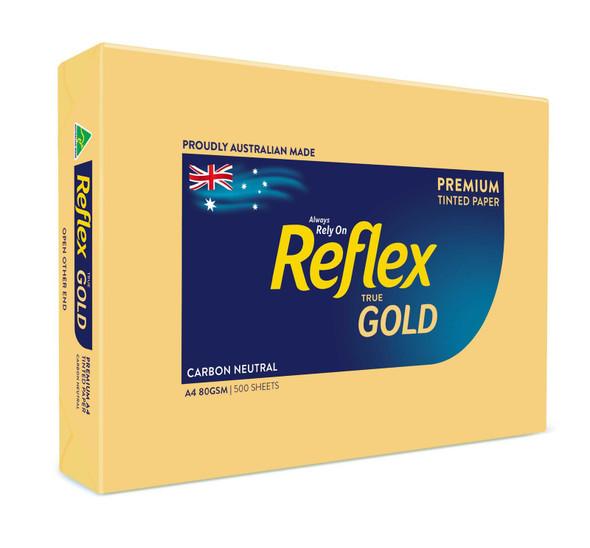 Reflex Colours 80gsm A4 Copy Paper Gold 500 Sheets
