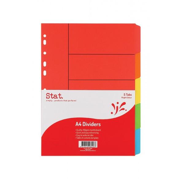 Divider STAT A4 Bright Colours Manilla 5 Tab