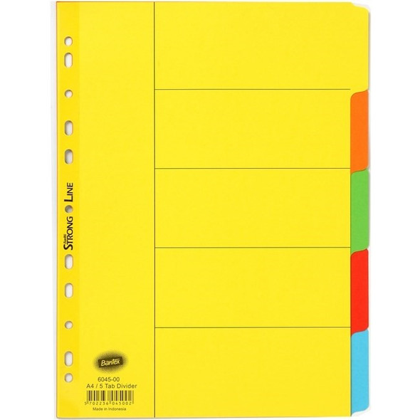 Bantex Dividers Strong Line Bright Manilla A4 5 Tabs - Assorted