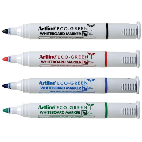 Artline 527 Eco Whiteboard Marker 2mm Bullet Assorted Wallet 4