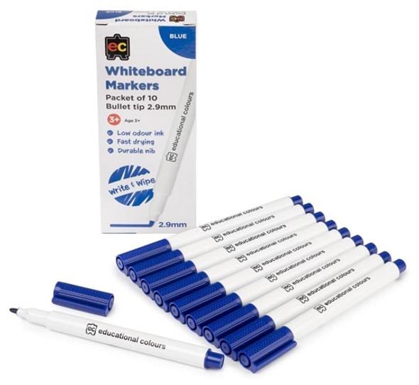 Copy of Whiteboard Marker Bullet Tip 2.9mm Nib Blue Pack 10