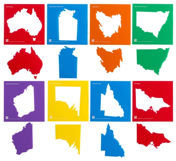 Educational Colours Australia & State Map Stencil Set of 8