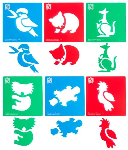 Educational Colours Australian Animals Series #1 Stencil Set 6