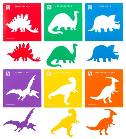 Educational Colours Dinosaurs Stencil Set Of 6