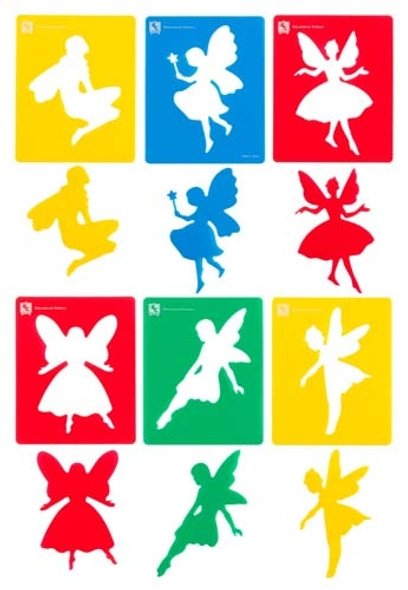 Educational Colours Fairy Stencil Set Of 6