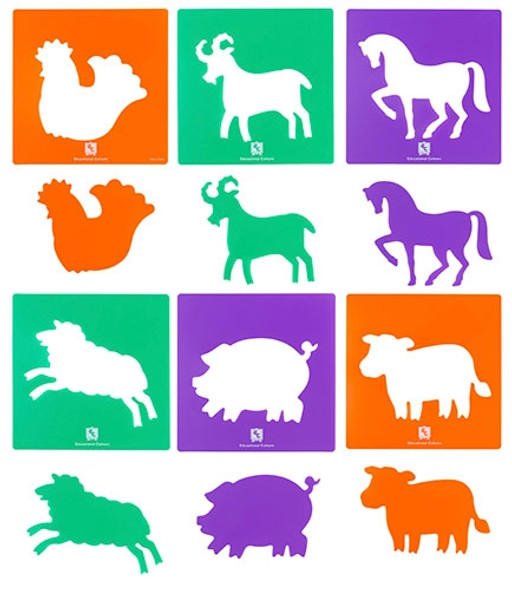 Educational Colours Farmyard Animals Stencil Set Of 6
