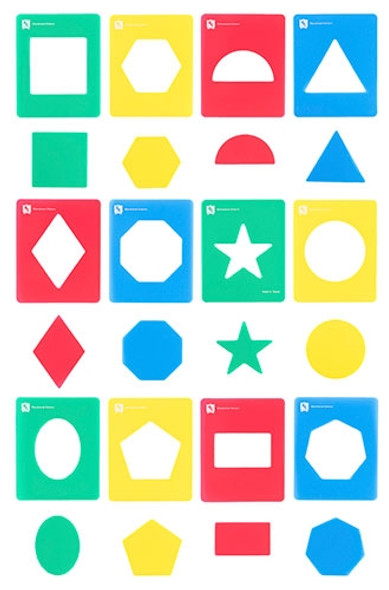 Educational Colours Geometric Shapes Stencil Set 12