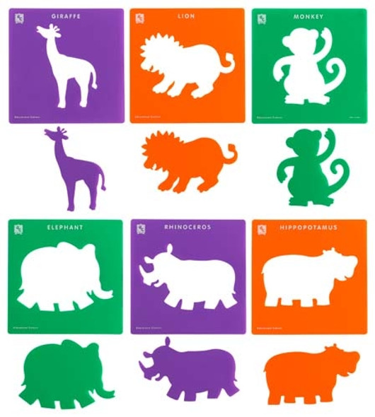 Educational Colours Jungle Animals Stencil Set of 6