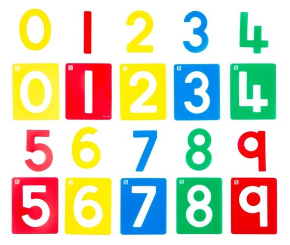 Educational Colours Numbers 0-9 Small Stencil Set 10