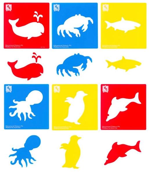 Educational Colours Sea Life Stencil Set of 6