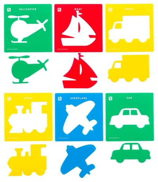 Educational Colours Stencil Transport Set of 6