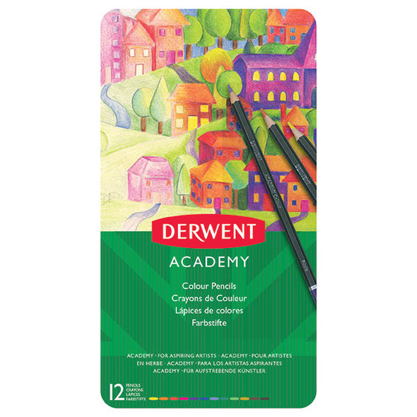 Derwent Academy Coloured Pencils Tin 12