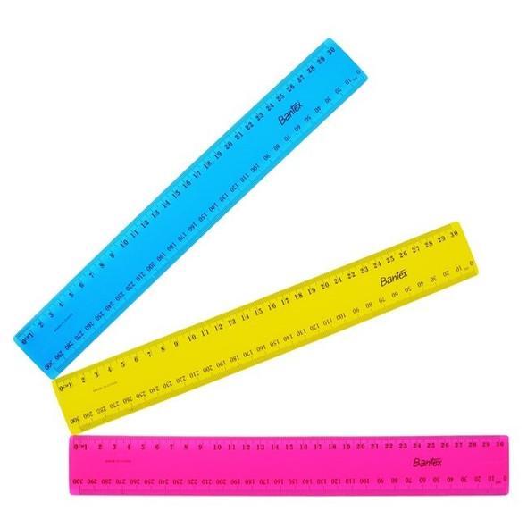 Bantex Ruler Plastic 30cm Fluoro - Assorted