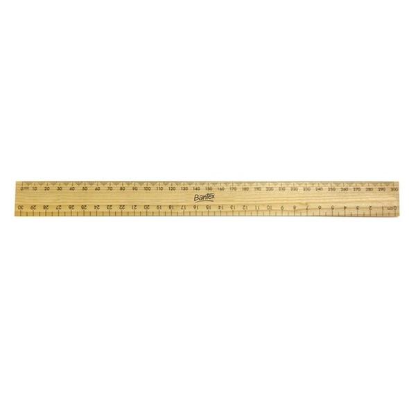 Bantex Ruler Wooden 30cm Polished