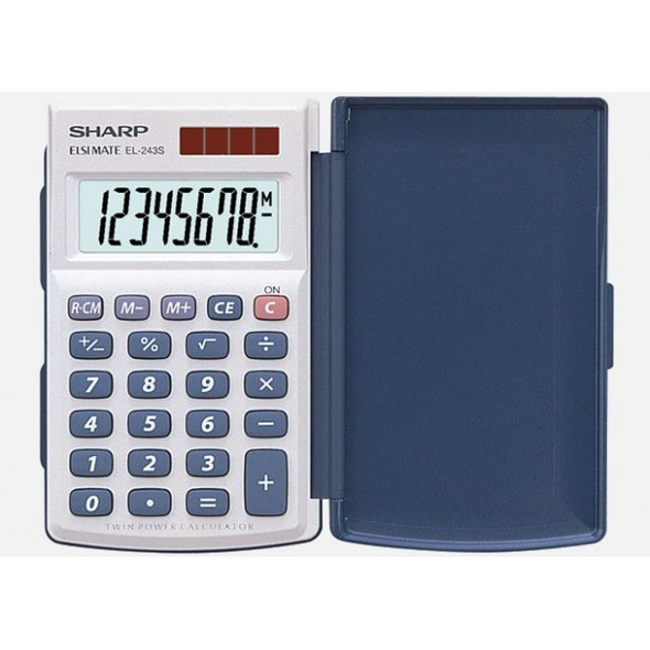 Calculator Sharp EL243S 8 Digit Dual Power Hard Cover