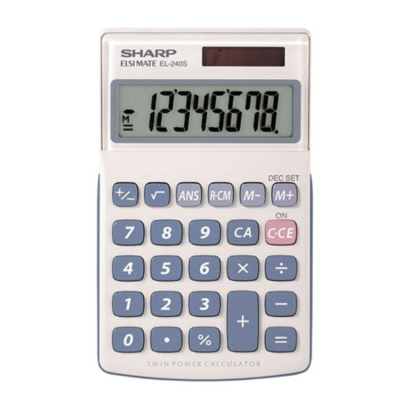 Sharp EL-240SAB 8 Digit Handheld Calculator With Last Call Answer Function