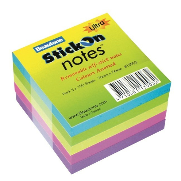Stick On Notes 76mmx76mm 5 Pads x100 Sheets Ultra