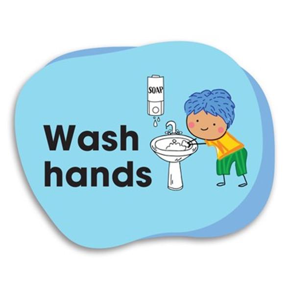 Durus School Outdoor Floor Adhesive Memory Jogger Wash Hands 250mmx200mm