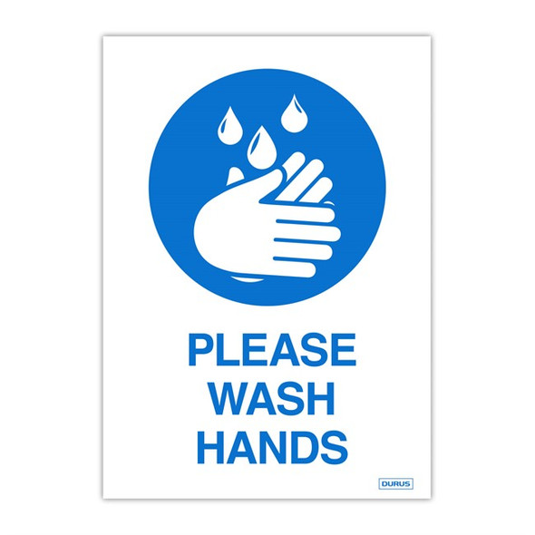 Durus Self Adhesive Decal Please Wash Hands Pack 2