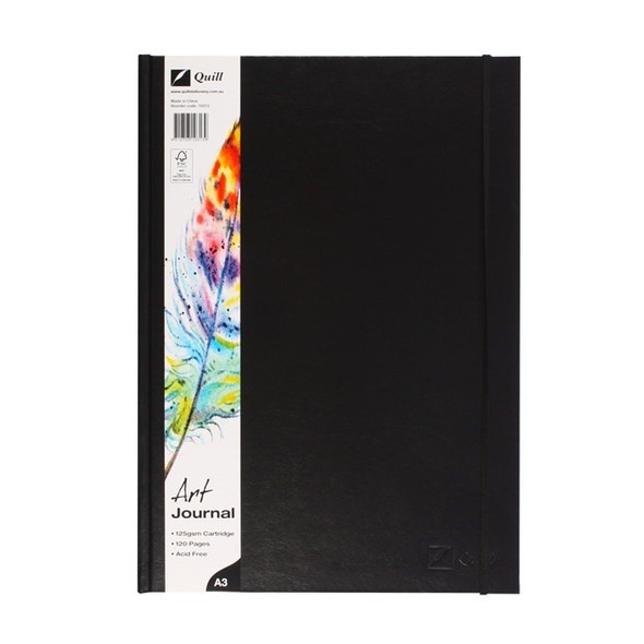 Quill Art Journal Case Bound 125gsm 60 Leaf A3 Black