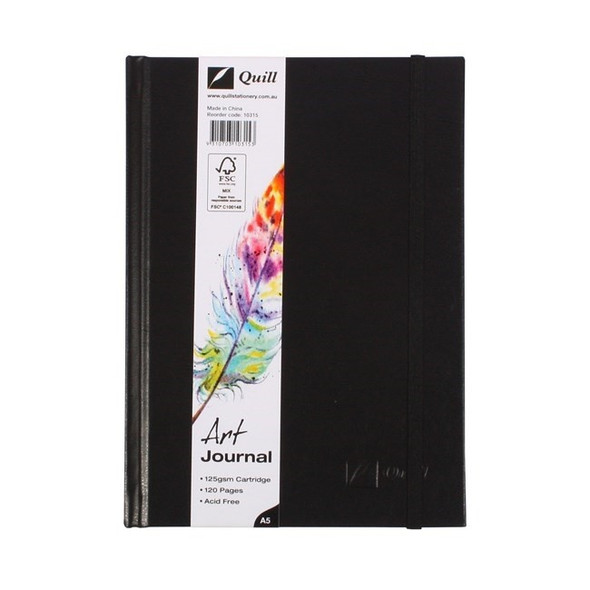 Quill Art Journal Case Bound 125gsm 60 Leaf A5 Black