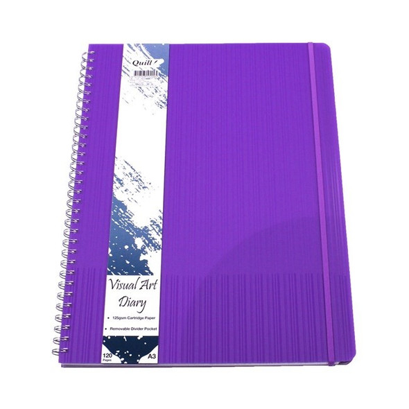 Quill Premium Visual Art Diary A3 120pg 125gsm - Violet