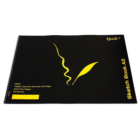 Quill Sketch Book PP Short Bound 110GSM A2 20 Sheets - Black