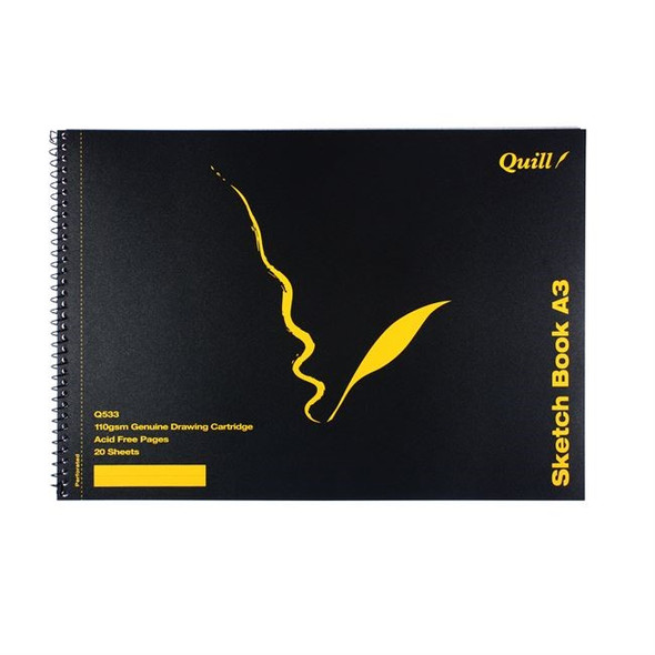 Quill Sketch Book PP Short Bound 110GSM A3 20 Sheets - Black