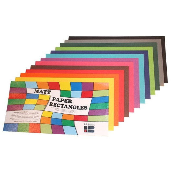 Brenex Matte Rectangles 250 x 125mm 360 Sheets Single Sided Assorted Colours