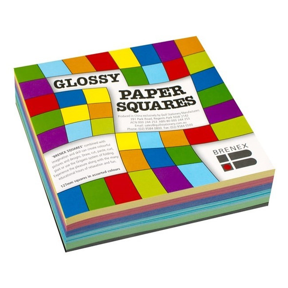 Brenex Glossy Squares 127 x 127mm Single Sided 360 Sheets Assorted Colours