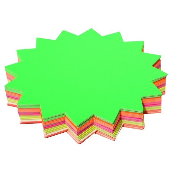 Brenex Fluoro Starburst 150mm Diameter 60 Sheets Single Sided Assorted Colours
