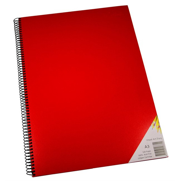 Quill Visual Art Diary PP 110GSM A3 120 Pages - Red