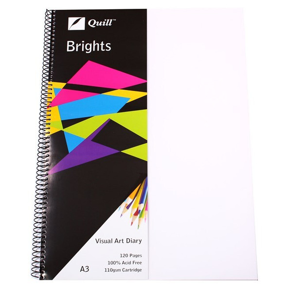 Quill Visual Art Diary PP 110GSM A3 120 Pages - Frosted