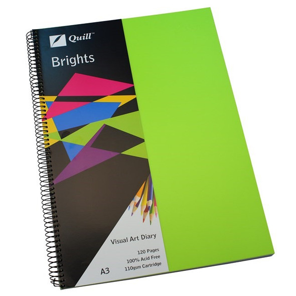 Quill Visual Art Diary PP 110GSM A3 120 Pages - Lime Green