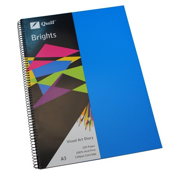 Quill Visual Art Diary PP 110GSM A3 120 Pages - Marine Blue