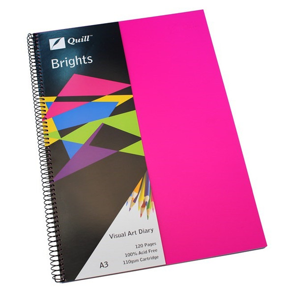 Quill Visual Art Diary PP 110GSM A3 120 Pages - Cerise Pink