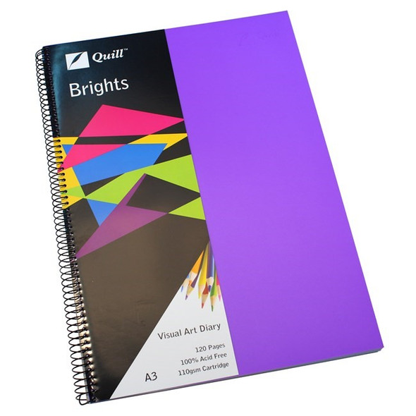 Quill Visual Art Diary PP 110GSM A3 120 Pages - Dark Purple
