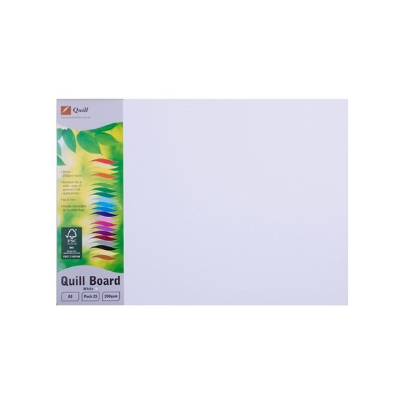 Quill Board 200gsm A3 Pack 25 - White